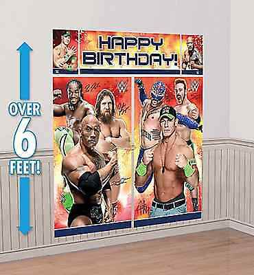 WWE Scene Setter Happy Birthday Wall Decoration Banner Party Favor Supplies 5pc - Wwe Party Decorations