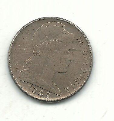 A High Grade 1949  Die Crack Digit 1  Colombia Five   5 Centavos Coin Jan012