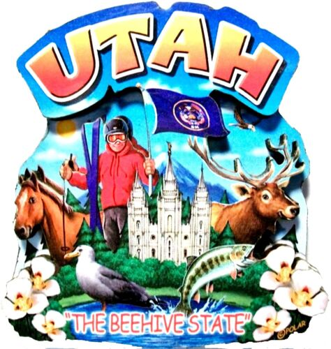 Utah The Beehive State Artwood Montage Fridge Magnet