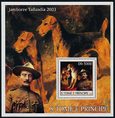 St Thomas & Principe 1448a s/s MNH Dogs, Scouts, Baden Powell