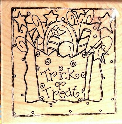 Quick Halloween Treat (Halloween Frame Rubber Stamp Trick Or Treat Candy Paper Bag Quick Card JKL )
