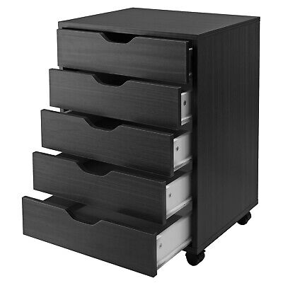 Contemporary 5-drawer Office Cart Filing Cabinet Portable Mobile Storage Black