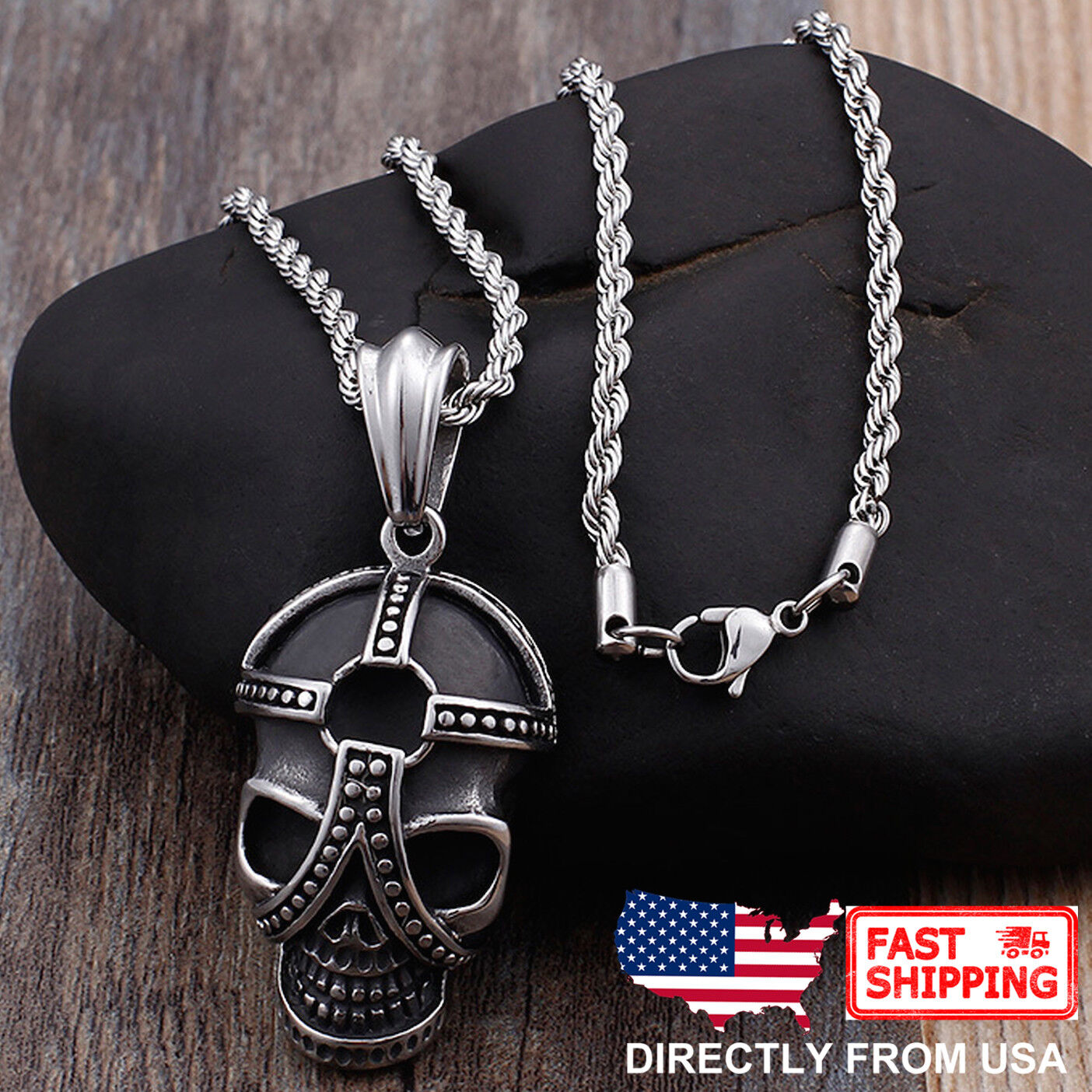 Men's Biker Jewelry, Stainless Steel Gothic Skull Pendant Necklace Chains, Necklaces & Pendants