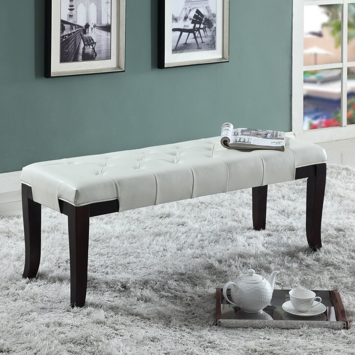 Modern Upholstered Bench White Black Leather Tufted Ottoman Curved Espresso Legs Ebay