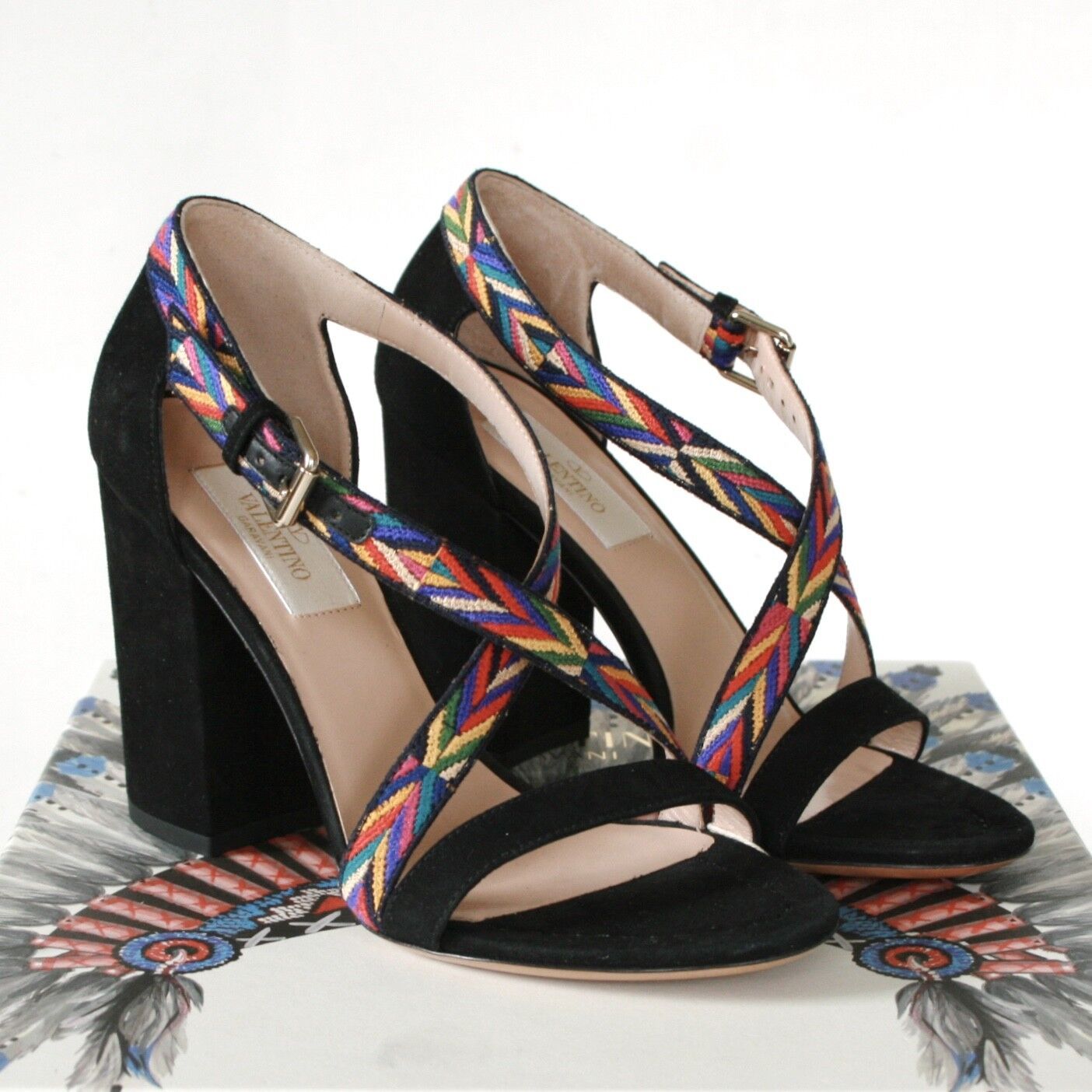 VALENTINO GARAVANI embroidered shoes native american high heel sandals 35 NEW