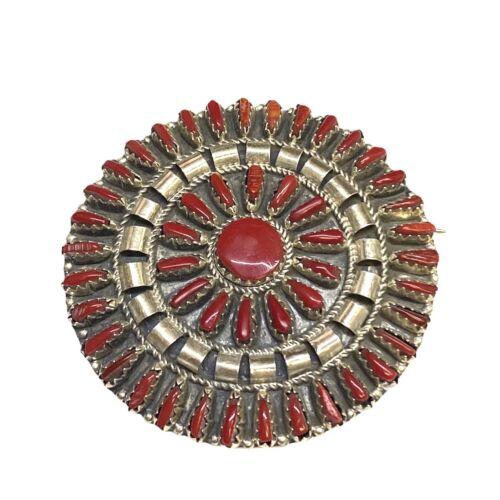 Navajo Handmade Stabilize Coral Cluster Sterling Silver Pin - Violet Begay