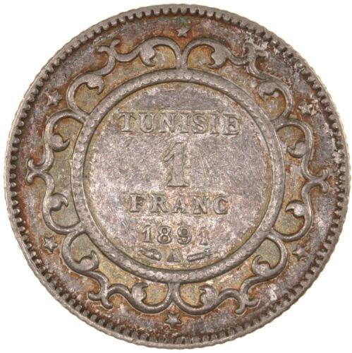 Raw 1891-A Tunisia 1 Franc Uncertified Ungraded Silver Tunisian Coin