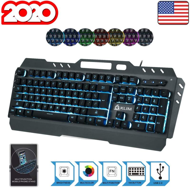 KLIM Lightning Gaming Keyboard + 7 LED Colors + Ergonomic Se