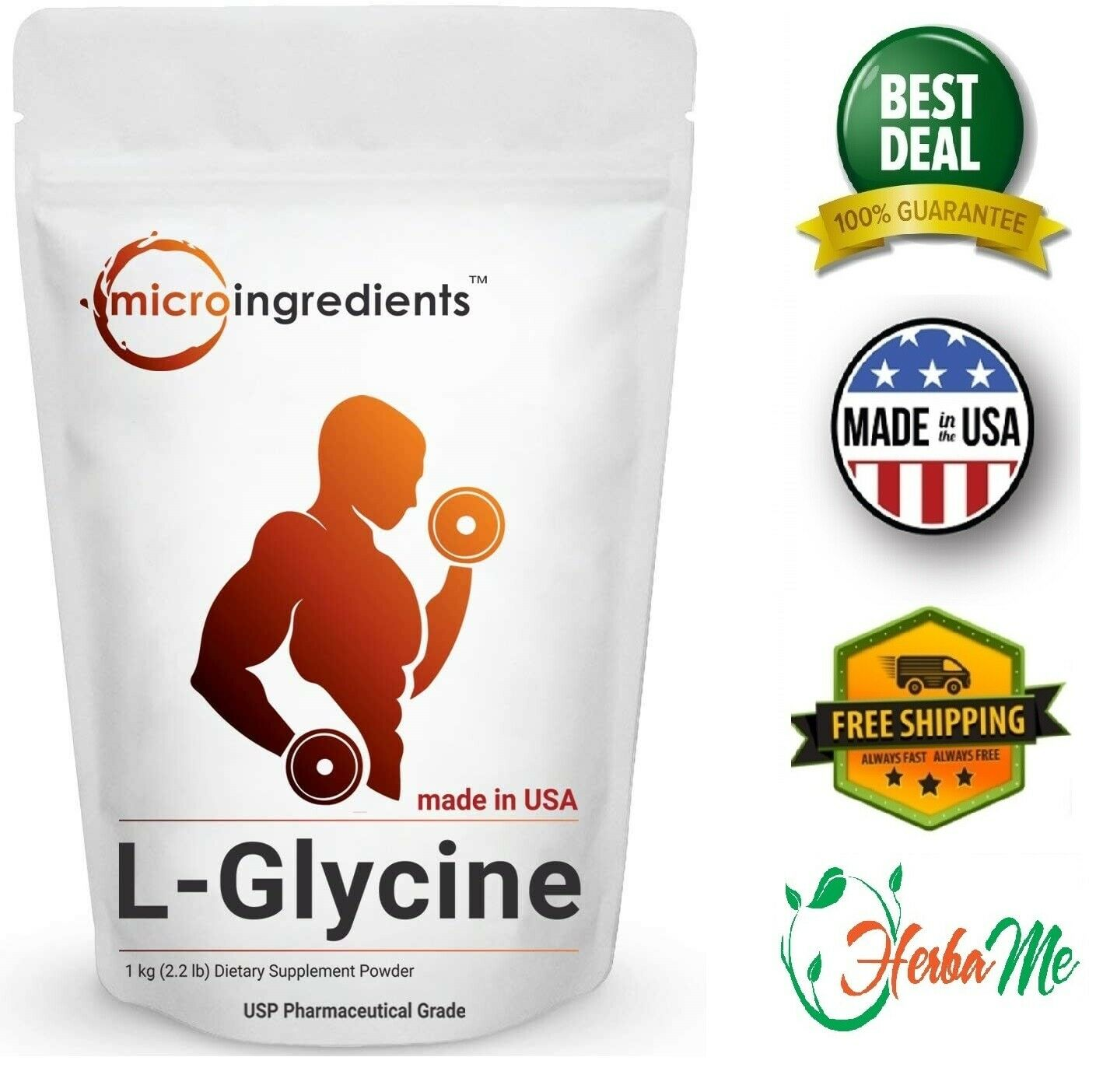 L-GLYCINE POWDER 2.2 lbs Supports Muscle Energy Stamina Endurance and Strength