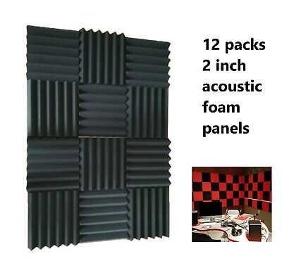 "12 Pack Wedge Premium Acoustic Soundproofing Studio Foam Tiles 12"" x 12"" x 2"""
