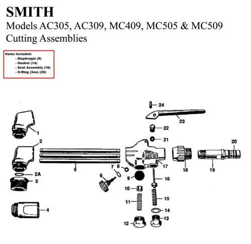 Smith Equipment Torch Repair/Rebuild Parts Kit MC505, MC509