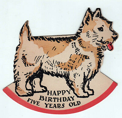 1929 DOG BIRTHDAY CARD Animal FIDO Dogs FIVE YEAR OLD Years GREETING Vintage