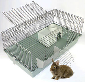 RABBIT-GUINEA-PIG-INDOOR-CAGE-HUTCH-80cm-100cm-120cm-80-100-120-NEW-BEIGE-SILVER