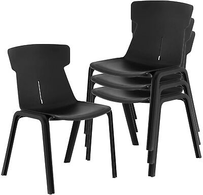 Office Guest Reception Chair With Back Support And Sturdy Plastic Frame 4 Packs