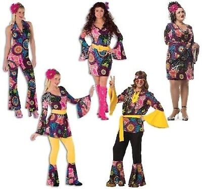 70er 80er Jahre Kleid Kostüm Flowerpower Damen Hippie Hippy Party Disco Catsuit