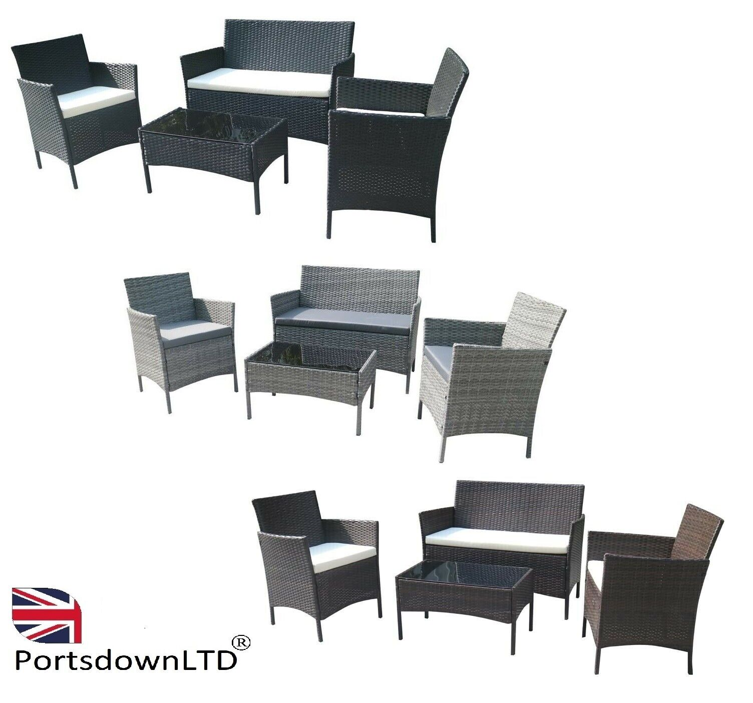 Garden Furniture - 4 Pcs Rattan Garden Furniture Set - Outdoor Sofa 2 x Arm Chairs Coffee Table UK