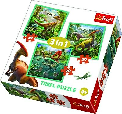 Trefl 3 In 1 20 + 36 + 50 Piece Dinosaur World Fantasy Floor Jigsaw Puzzle NEW
