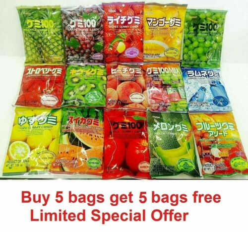 Kasugai Japan Fruity jelly Gummy Candy, 15 flavors available,buy 5 get 5 free