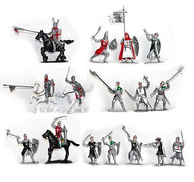 Plastic Toy Soldiers Templar Knights Hospitallers Crusaders Painted Figure Set