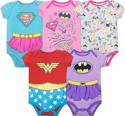 Justice League Baby Girls' 5 Pack Bodysuits- Wonder Woman, Batgirl and Supergirl](Wonder Woman Baby)