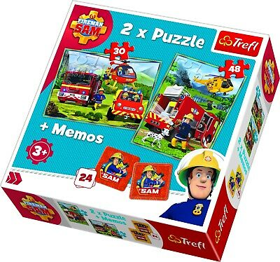 Trefl Kids 2 In 1 30 + 48 Piece & Memos Game Fireman Sam Action Jigsaw Puzzle