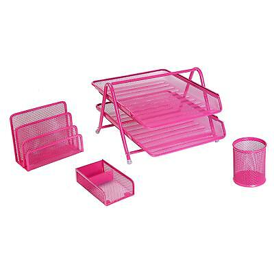 Exerz Mesh Office Set Of 4 - Letter Tray Rackpen Potclipsmemo Holder -pink