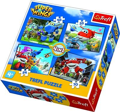 Trefl 4 In 1 35 + 48 + 54 + 70 Piece Kids CJ E&M Super Wings Jigsaw Puzzle NEW