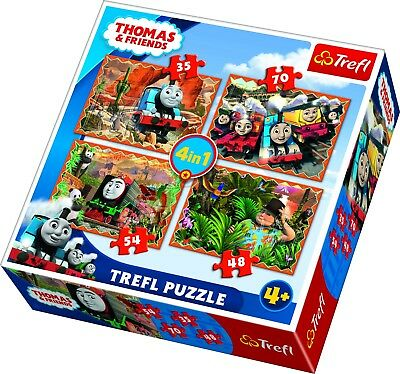 Trefl 4 In 1 35 + 48 + 54 + 70 Piece Kids Thomas and Friends Jigsaw Puzzle NEW