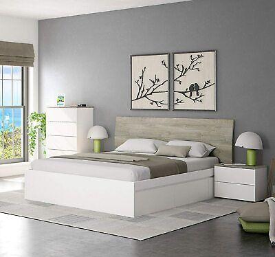 Pack dormitorio matrimonio color blanco y roble (cama+cabecero+mesitas+cómoda)