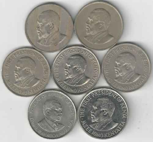 7 DIFFERENT 50 CENT COINS from KENYA (1966, 1967, 1971, 1974, 1978, 1980 & 2005)