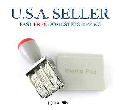 Date Stamp For Office Business School Rubber Manual Set Dater Black Ink Pad