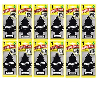 12 x Black ICE Scent Magic Tree Little Trees Car Home Air Freshener Freshener