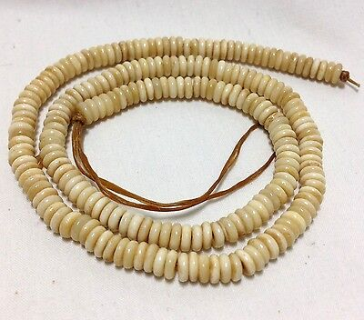 Approximately 16 Beads - 4mm Disc/Rondelle Antiqued Bone Beads, Approximately 200 Beads per 16