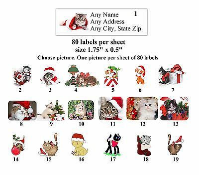 80 Small Return Address Labels Christmas Cats Buy 3 Get 1 Free Ch2