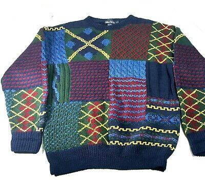 Vintage Nautica Hand Knit Sweater Sz L Thick Cotton 90s