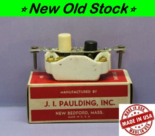 💡 Vintage Push Button Light Switch, Single-Pole ON/OFF Porcelain, Paulding, USA