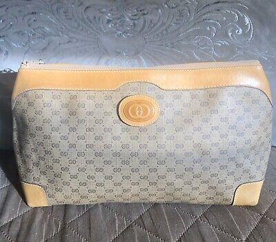 VINTAGE GUCCI GG LOGO COSMETIC BAG TOILETRIES TRAVEL CASE Monogram Leather