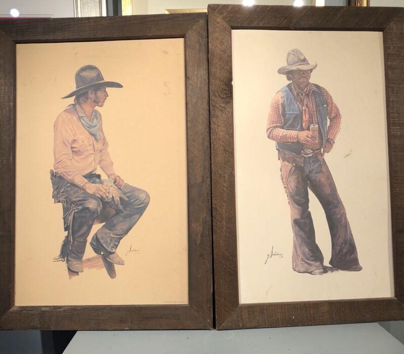 2 Coors Cowboy Prints framed!! Gordon Snidow!