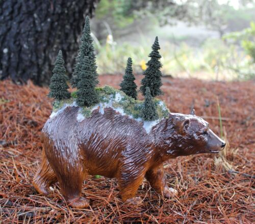 Custom Breyer Brown Bear with Mountain Forest on Back CM