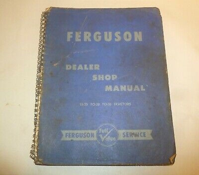 Vintage 1954 Ferguson Dealer Shop Manual Te-20 To-20 To-30 Tractors