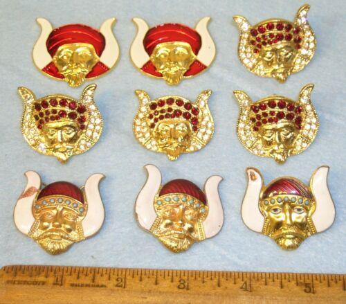 9 Vintage MASONIC MOVPER GROTTO Enamel & Rhinestone Pins  * 3 as is