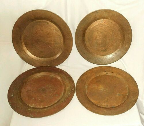 """4 Vtg Hammered Copper 11 7/8"""" Dinner Charger Plates Rolled Edge Hand Made Rustic"""