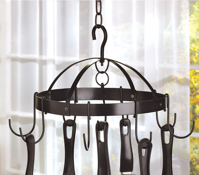 kitchen black round hanging mini pot and pan rack new