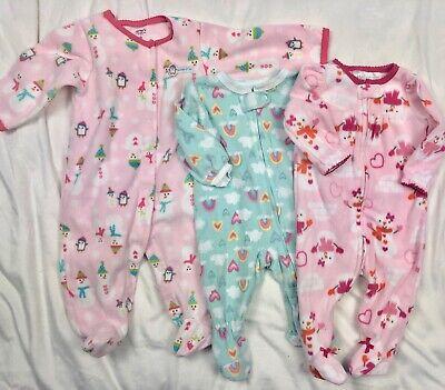 Carters Fleece Blanket Sleeper Pajamas Lot Baby Girls 6 Months / 9 Months Fleece Blanket Sleeper Pajamas