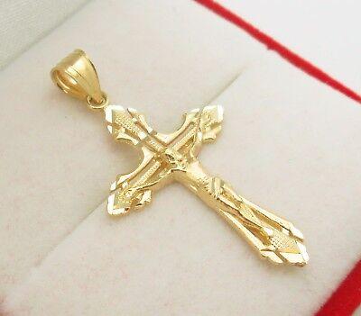 Men's Women's 10k Yellow Gold Cross Charm Pendant Gold Crucifix -