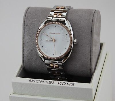 NEW AUTHENTIC MICHAEL KORS LIBBY SILVER ROSE GOLD CRYSTALS WOMEN'S MK3676 WATCH
