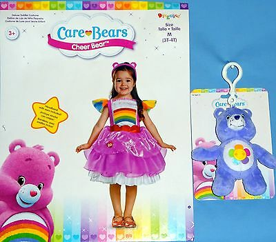 Cheer Costumes For Girls (Care  Bears;Cheer Bear deluxe costume dress;girls 3T-4T;headband;plush bear)
