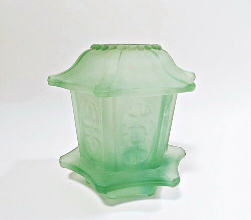 Pagoda Glass Fairy Lamp/Candle Holder - Frosted Green - Indiana Glass Co.