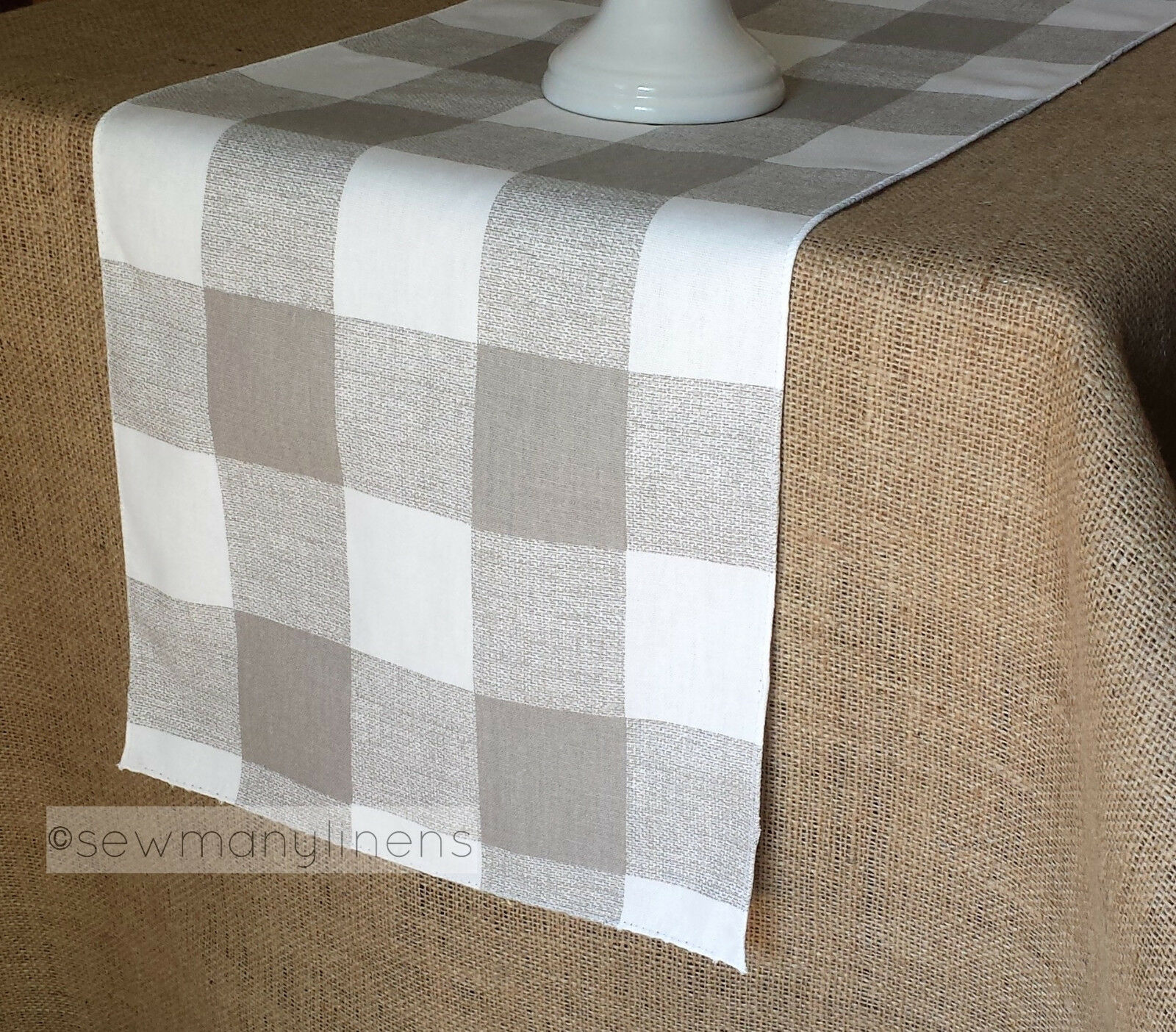 Tan Taupe Beige Buffalo Check Plaid Table Runner Farmhouse C