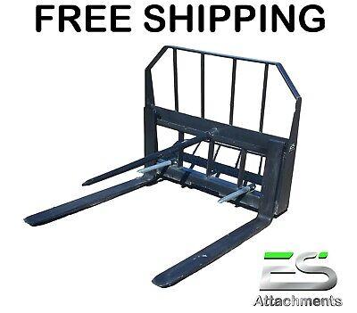 Es 42 Pallet Fork Bale Spear Combo Quick Tach Skid Steer Loader Free Shipping